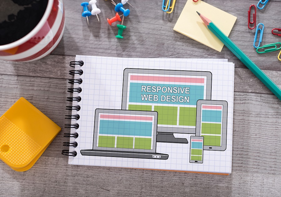 Responsive design concept drawn on a notepad placed on a desk